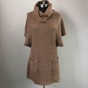 Allison Brittney Brown Batwing Cowl Sweater Dress